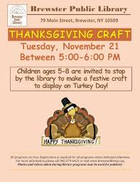 thanksgiving craft at brewster library