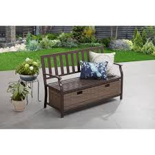 Outdoor Bench With Storage Better Homes And Gardens Camrose Farmhouse Bench With Wicker