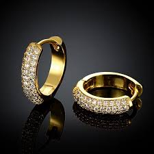 gold ear ring image small gold plated hoop earring cubic zirconia womens gold earrings