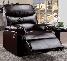 Faux Leather Recliner Arcadia Transitional Style Faux Leather Recliner With Hand Latch