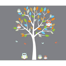 Owl Wall Sticker Orange And Blue Owl Decals With White Tree Wall Decal For Nursery