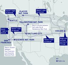 Amtrak Stops Map by Us National Parks Railbookers