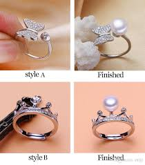 mounting rings images 2018 shiny pearl ring setting zircon solid silver 925 rings jpg