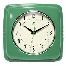 infinity instruments 9 square retro 9w x 9h in wall clock jet com