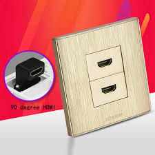 golden color dual hdmi1 4 port wall outlet l shape hdmi connector
