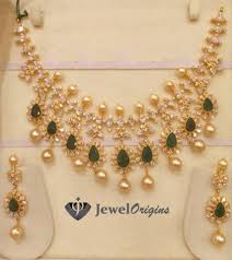 gold necklace with stones images Emeralds and cz stones studded gold necklace jpg