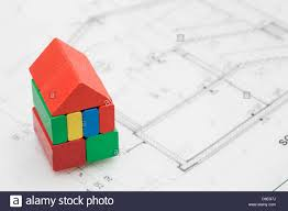 child u0027s coloured wooden building block house blueprint stock photo