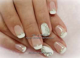classy one finger gliter french gelish french manicure with