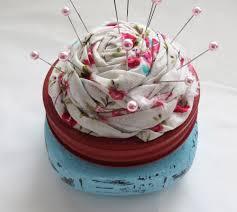 the simple craft diaries mason jar and flower rosette pin cushion