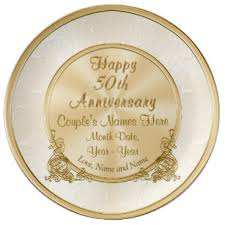 50th anniversary gifts 50th wedding anniversary plates zazzle