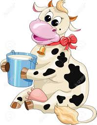 funny cartoon spotted cow with a bucket of milk on a white