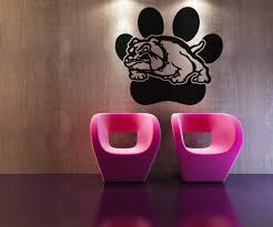 vinyl wall decal sticker bulldog with paw print os aa619