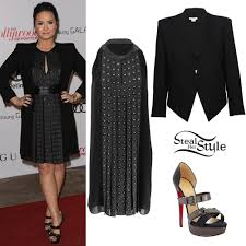 demi lovato fringe dress black blazer steal her style
