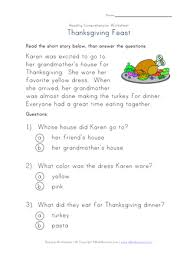 thanksgiving reading comprehension worksheet all network