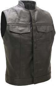 perforated leather motorcycle jacket style full perforated leather biker vest