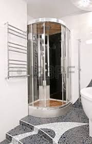 Bathroom In Black Shower Head And And Falling Water Drops Stock Photo Picture And