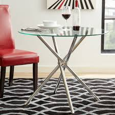 Bases For Glass Dining Room Tables Vince Glass Round Dining Room Table Chrome Plated Base Tempered