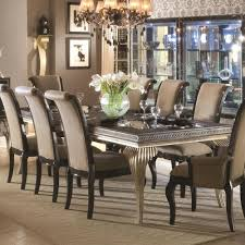 michael amini dining table michael amini hollywood swank leg dining table w glass insert top