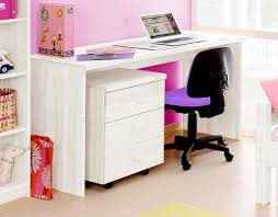 Kinder Schreibtisch Schreibtisch 140x76x60cm Mit Rollcontainer Kiefer Massiv Weiß