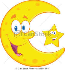 crescent moon and smiling crescent moon and vector