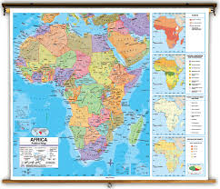 Universal Map Advanced Africa Political Classroom Map On Spring Roller