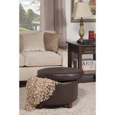 large round storage ottoman homepop chocolate brown faux leather foam wood large round storage