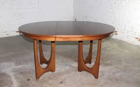 mid century walnut dining table sold mid century modern broyhill brasilia 6140 45 round pedestal