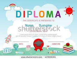 preschool certificates certificates kindergarten elementary preschool kids diploma stock