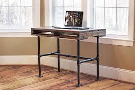 rustic industrial pallet pipe desk reviveries