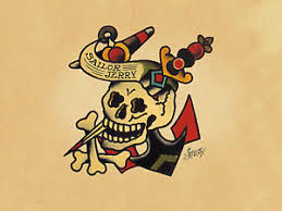 sailor jerry skull and cross bones print poster 0011490