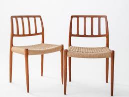 siege vintage chaises vintage en teck solide avec siège en corde par n o moller