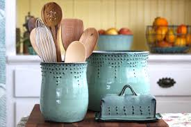 Teal Kitchen Decor by Utensil Holder Medium Size Aqua Mist Hand Thrown Vase