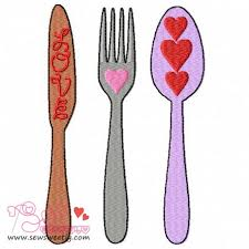 Machine Embroidery Designs For Kitchen Towels Cutlery 1 Embroidery Design