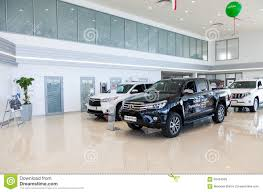 toyota auto dealership inside in the office of official dealer toyota editorial stock
