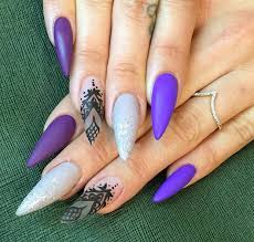 matte purple gray with glitter tips and clear nail with black