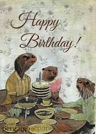 otter birthday card anthropomorphic otters unique otter family