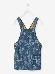 girls u0027 printed denim pinafore dress girls vertbaudet