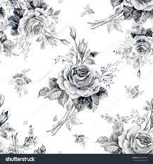 beautiful pattern watercolor seamless pattern roses bud m stock illustration