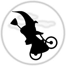 witch flying on a bicycle free halloween vector clipart illustration