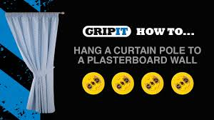 How To Hang A Curtain Gripit How To Hang A Curtain Pole To A Plasterboard Wall Youtube