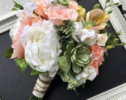 Silk Wedding Bouquet Rose Gold Wedding Flowers Feather Bouquet Bridal Bouquet