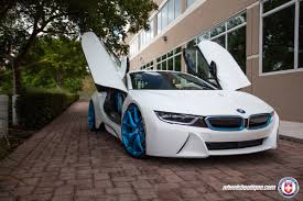Bmw I8 Wheels - white bmw i8 with hre p101 in frozen ilectric blue hre