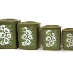 retro canisters kitchen daisy canisters etsy