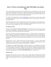 How To Make Resume Stand Out Online by How To Make Resume Stand Out Online Free Resume Example And