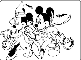 Mickey And Minnie Halloween Coloring For Kids Mickey Mouse Mickey Mouse Coloring Pages