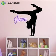 compare prices on girls bedrooms online shopping buy low price personalized gymnastics decor customize name wall decal yoga home decal decor girls bedroom decoration wall art