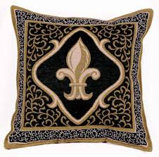 Amazon Fleur De Lis Black Decorative Tapestry Toss Pillow USA