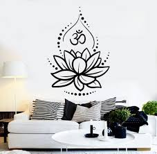 vinyl wall decal lotus flower yoga hinduism hindu om symbol