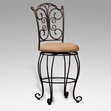 Outdoor Bar Stools With Backs Furniture Outdoor Bar Stool With Wrought Iron Ornate Back And