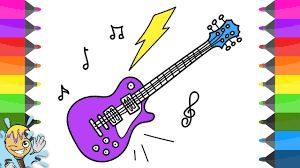 how to draw electric guitar coloring pages art drawing